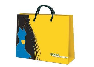 China yellow / black / blue promotional paper bags , paper grocery bags with handles supplier