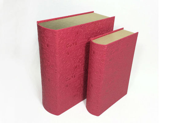 China Rigid Pink Cardboard Paper Boxes Shaped Like Books Glossy Lamination Surface supplier