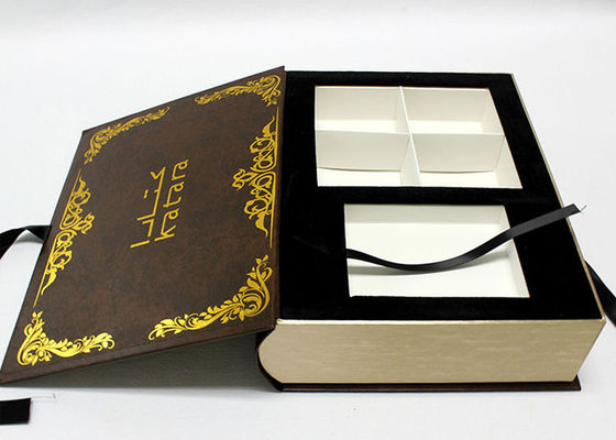 China Handmade Decorative Book Boxes , Luxury Book Shaped Gift Box With Ribbon supplier