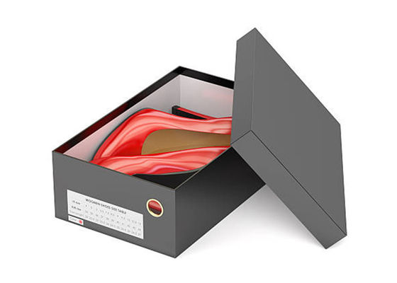 China Luxury Shoes Box Packaging Black Corrugated Paper Cardboard Material UV Coating supplier