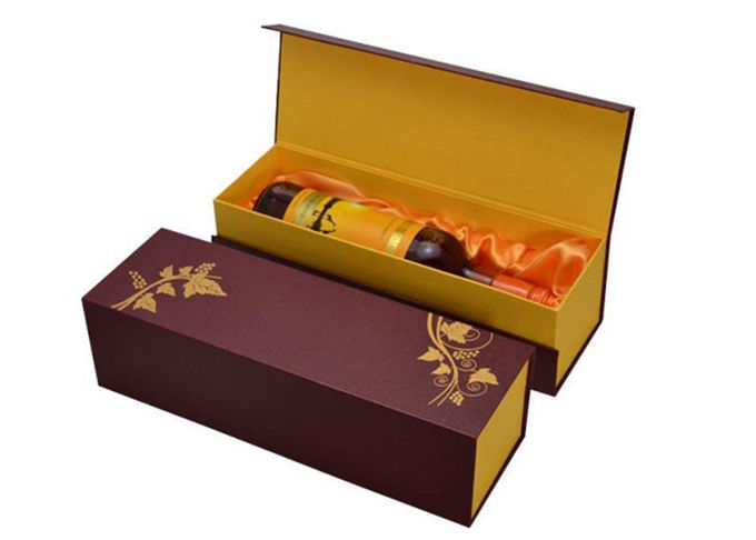 Handmade Foldable Wine Packaging Box For Present CMYK Color Printing