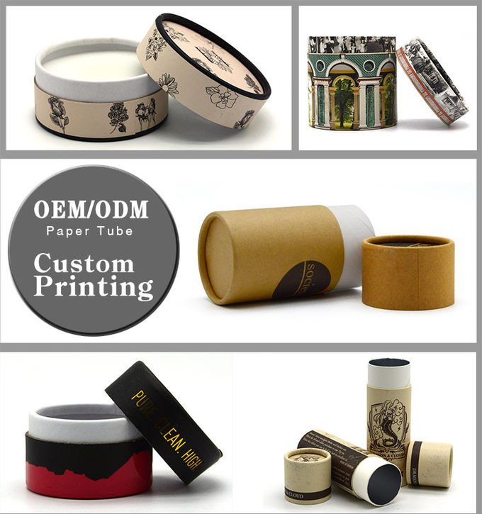 Brown Tube Type Round Cardboard Hat Boxes , Round Packaging Boxes Recoverable