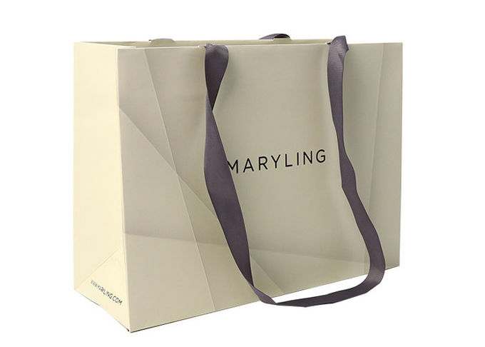 Resuable Personalized Paper Shopping Bags With Cardboard Satin Ribbon